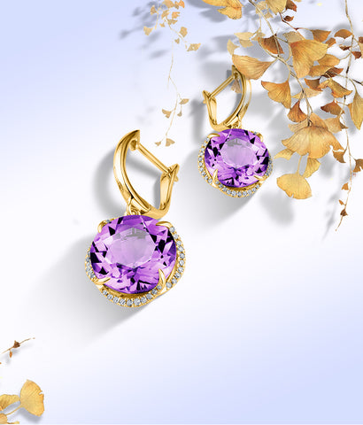 Natural Amethyst 18K Pure Gold Earring Real AU 750 Solid Gold Earrings  Diamond  Trendy  Fine Jewelry Hot Sell