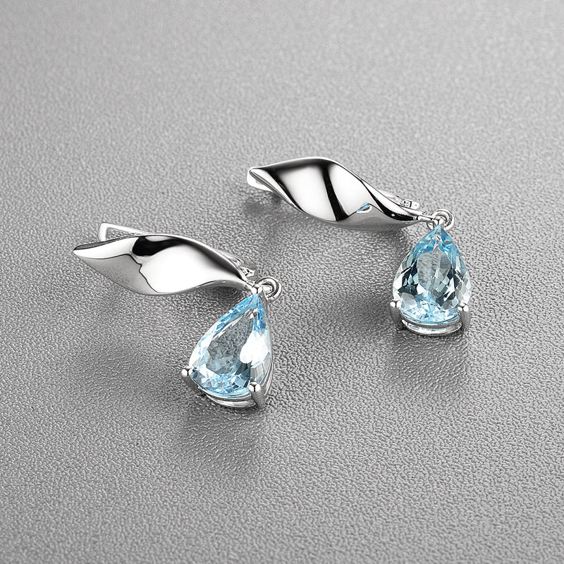 New style handcraft 14k gold natural Blue aquamarine clasp earrings pear 7*10mm gemstone fine jewelry for girl Wedding wear