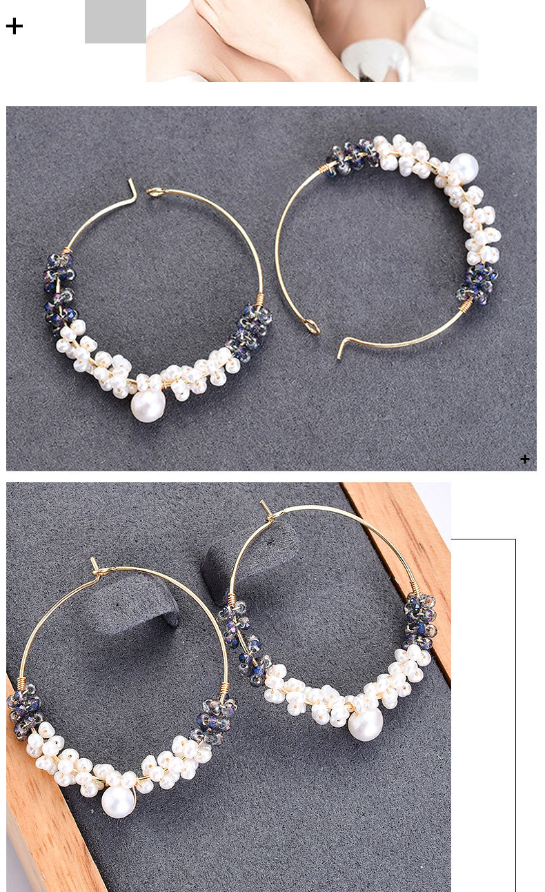 Real Pearl Earrings Big Loop Round Drop Earrings with Stones Sensitive Ears Female Sterling Silver 925 Ear Jewelry Girls