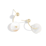 Trendy Natural Shell Round Geometric Dangle Earrings Copper 14 K Charm for Female Holiday Office Jewelry Accessories