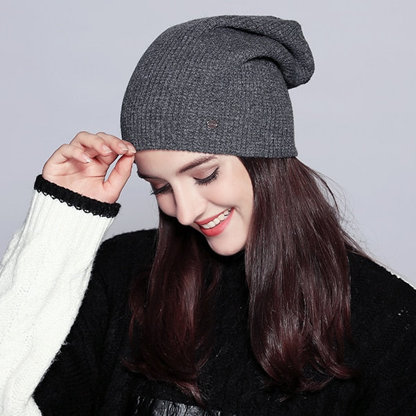 Warm Beanie Autumn Hats For Women Winter Brand New Lattice Cotton Knitted Hat Female Skullies Beanies Lady Bonnet