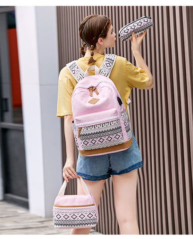 3pcs/set kids ethnic dots canvas backpack school bags for teenage girls pencil book bag set student backpack girl gift
