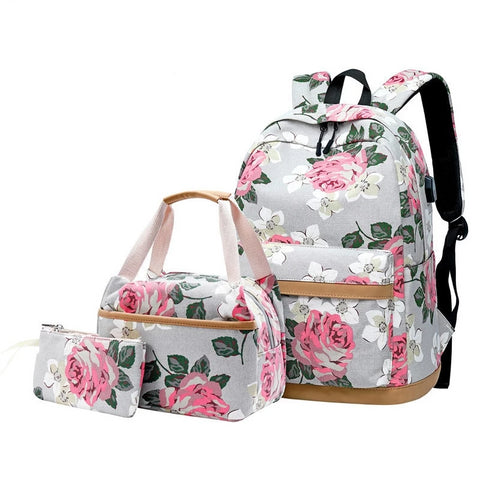 3pcs/set korean style flower canvas school backpack children floral book bag set school bags for teenage girls backpack