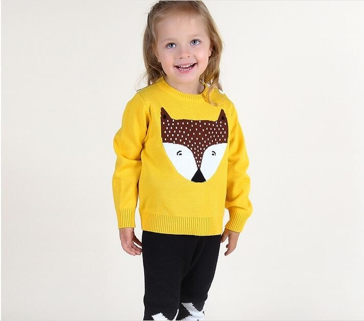 New Boys Sweaters Baby Girls Autumn Wear Warm Fox Cartoon Sweaters New Children Knitting Pullovers Outerwear Baby Sweater