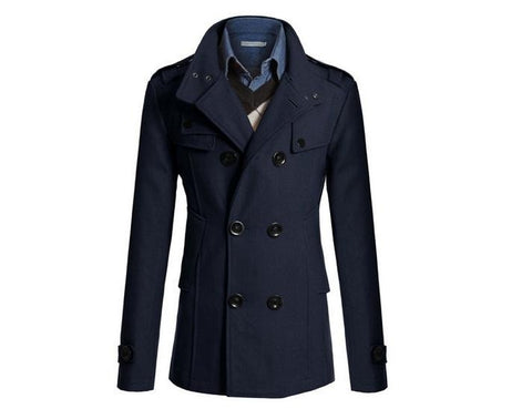 Navy Blue Korean Men Woolen Coat Fashion Slim Wild double-breasted Coat Business Men Lapel Jacket Pocket