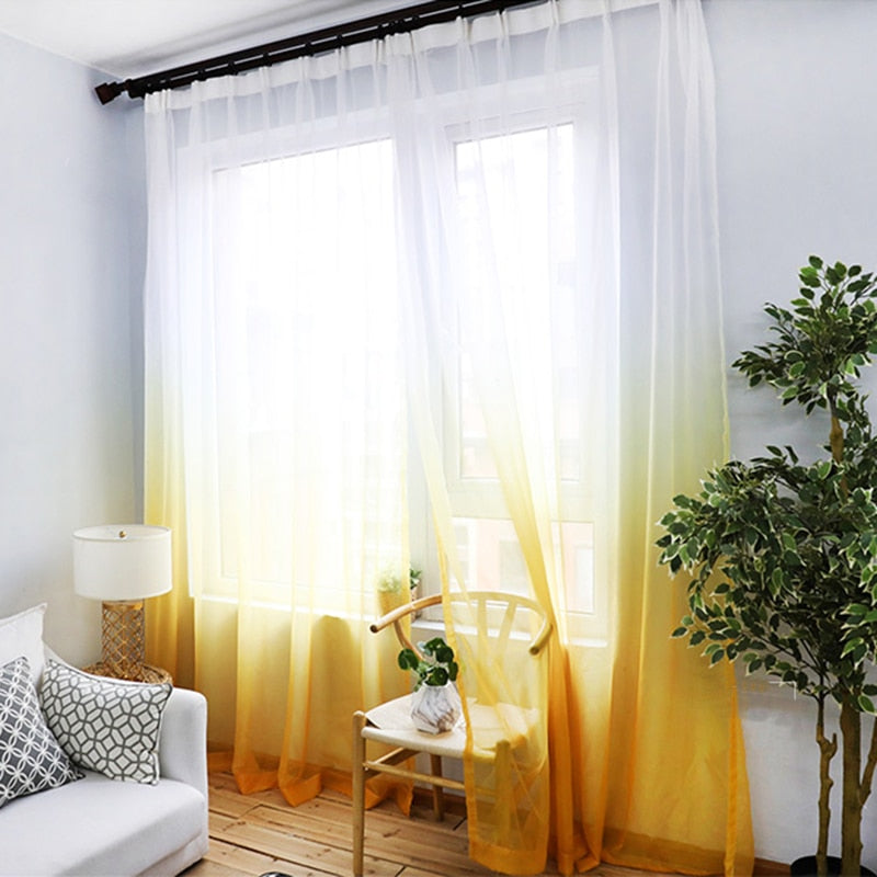 Orange-yellow Gradient Sheer Curtain Fabrics Decorative Panel Thick Curtains for Living Room Bedroom Window Tulles for Kitchen
