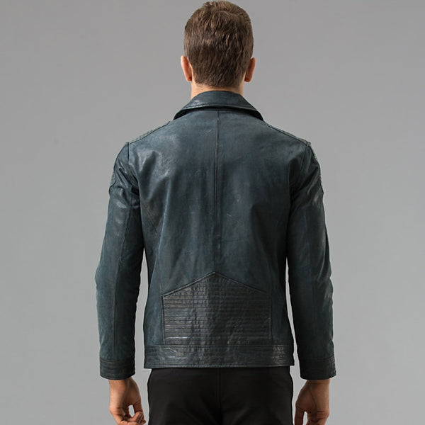 Men's motorcycle real leather jacket Genuine Leather jacket Bomber jackets biker coat male