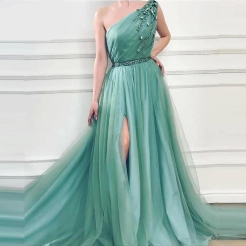 One Shoulder Mint Green Prom Dress Split Side Sexy Beads Tulle Women Formal Gown Long Party Robe Longue Soiree