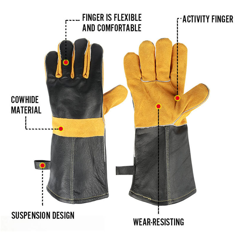 Kitchen Gloves Heat Proof Genuine Leather BBQ Cooking Baking Barbecue Glove with Cowhide Anti-slip Anti-scald Welding gloves