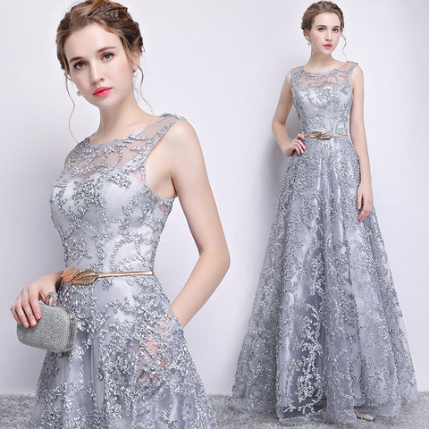 Elegant Long Women Banquet Evening Gowns with Belt Sleeveless Tulle Party Dress for Wedding Floor-Length O-neck Prom Gown