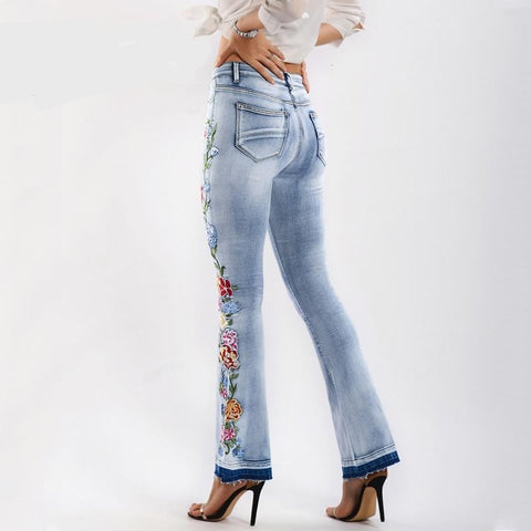 Cotton Denim Jeans Woman Spring Autumn Floral Embroidery Casual Stretch Skinny Flare Jeans