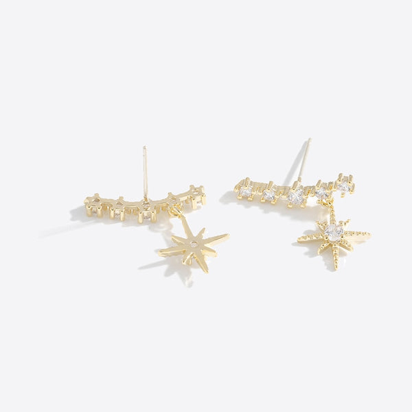 New Fashion Brand Shining Cubic Zirconia Star Stud Earrings Luxury Statement Charm Oorbellen for Women Party Jewelry Gift