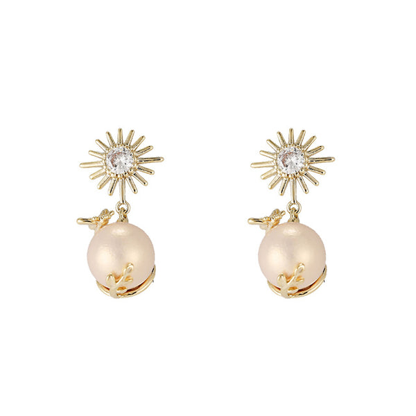 New Fashion Brand Exquisite Zirconia Luxury Dangle Earrings Imitation Pink Pearls S925 Charm Earrings Women Wedding Party