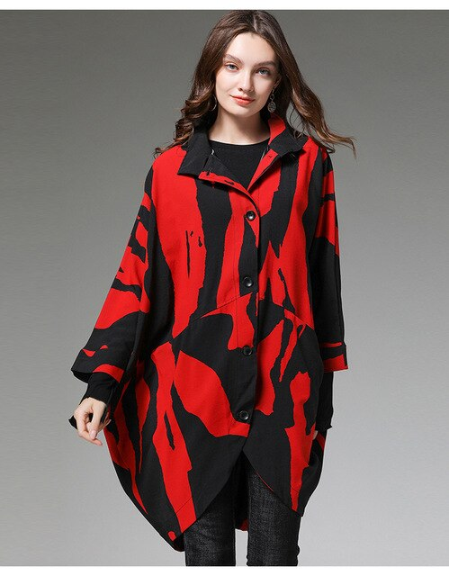 Autumn Fashion printed trench coat Plus size outwear Female Long sleeve asymmetrical loose fit windbreaker outfits tops XL-XXXXL