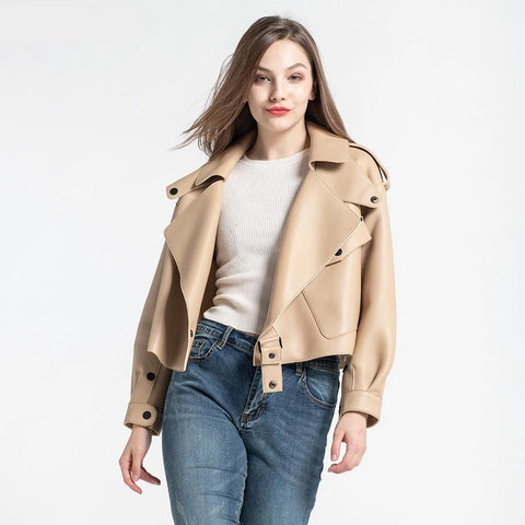 8 Colors Women's Leather Jacket New Fashion Genuine Leather Coat Lady Spring Sheepskin Leather