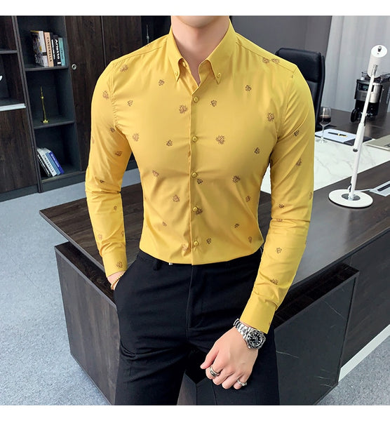 Men Shirts Autumn New Slim Fit Shirt Men Long Sleeve Streetwear Casual Digital Print Men's Social Shirts Dress 3XL