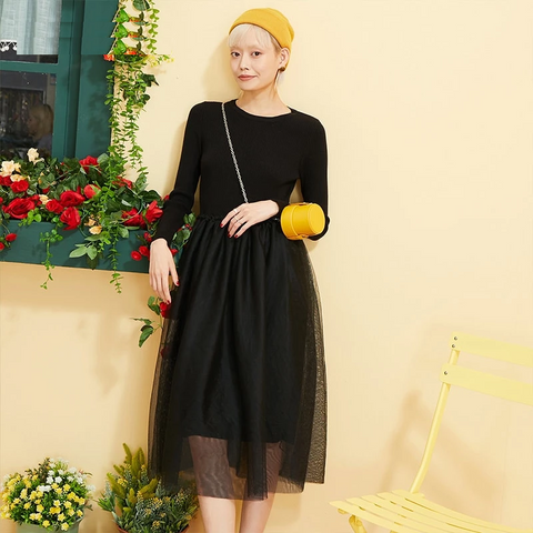 Black Solid Contrast Mesh Minimalist Knit Dress Women Autumn Apricot Elegant Long Sleeve Office Ladies Dresses