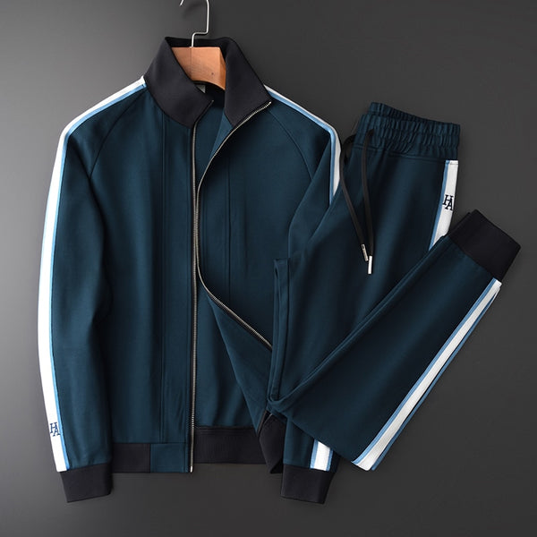 Mens Sets (sweatshirt+pants) Luxury Stand Collar Contrast Color Ribbon Mens Hoodies Plus Size 4xl Elastic Waist Men Pants