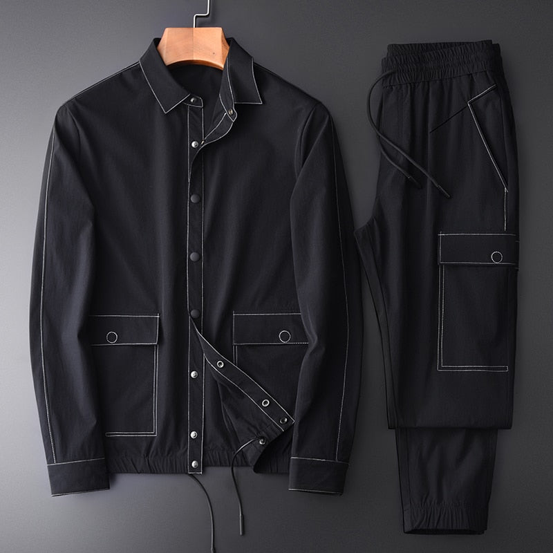 Spring And Autumn Men Sets (jacket+pants) Contrast Color Stitching Casual Sports Man Sets Plus Size 4xl Slim Man Jackets