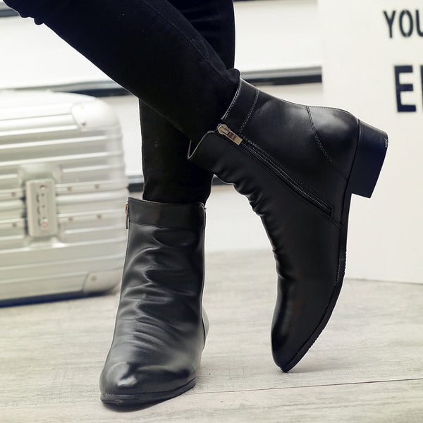 Leather Chelsea Boots Men Winter Shoes Warm Shoes Fashion Zipper Booties Mens Ankle Boots Black Booties Plus Size