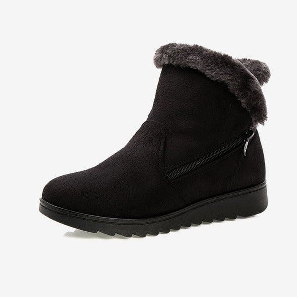 Women's Snow Boots Women Zip Winter Ladies Warm Fur Suede Flat Woman Fashion Ankle Boot Female Casual Shoes Plus Size