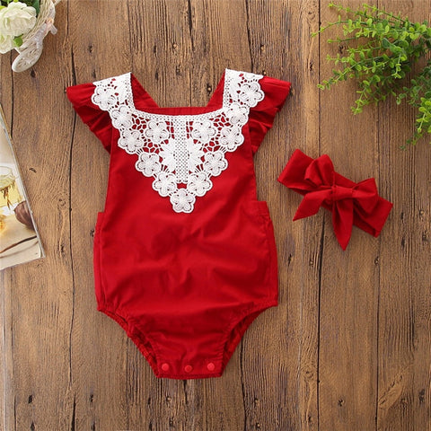 Toddler Newborn clothes Set Baby Sleeveless Lace Romper Jumpsuit Headbands Outfit newborn clothes
