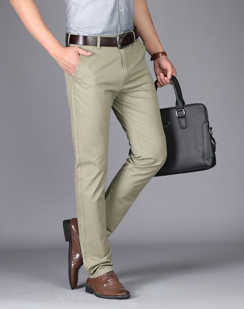 Summer New Casual Men's Trousers High-waisted Pure Pants for Male Cotton Thin Straight Tube Trousers