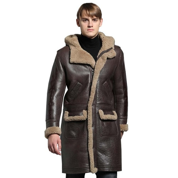 Thicken Long Shearling Sheepskin Coat Men Winter Warm Sheep Leather Jacket Genuine Leather Brown Hooded Real Fur Clothing
