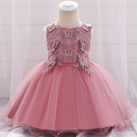 1PC 3D Embroidery Butterflies Bowknot Baby Girl Princess Dress Infant Birthday Dress Flower Girl Wedding Party Baptism Dress