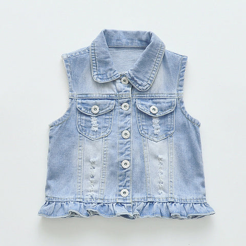 Baby Denim Vest For Girls Fashion Swan Appliques Waistcoat  Children's Clothing Vests & Waistcoats Baby Girls Clothes