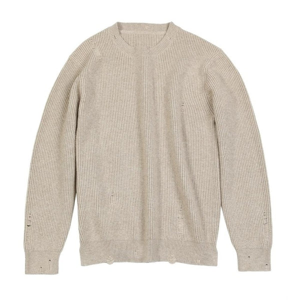 Autumn Winter new Distressed Pullover Sweater Men Ripped hole warm knitwear plus size casual sweaters