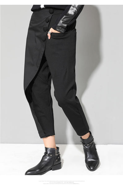 Black Tide Long Harem Pants Women Elastic Waist Button Fly Casual Modis Front Patchwork Female Trouser Autumn