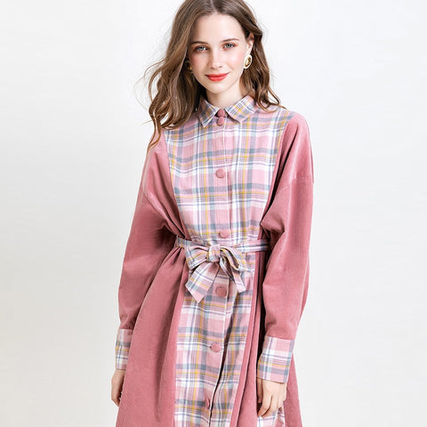 Autumn Winter New Women Dress Casual Corduroy Plaid Stitching Dress Long Sleeve Shirt Dresses With Belt