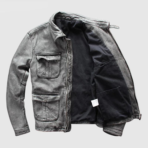 Leather Jacket Brand Old Retro Mens 100% Genuine Leather Jacket Motorcycle Leather Jacket  DHL Free Shipping