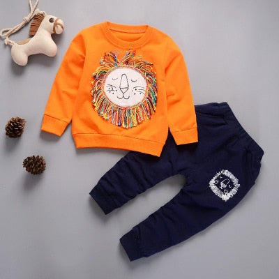 New Autumn Winter Kids Clothes Set Fashion Animal Printed Cartoon Appliques Design Sweatshirts+Pants 2PCS Suit Clothing