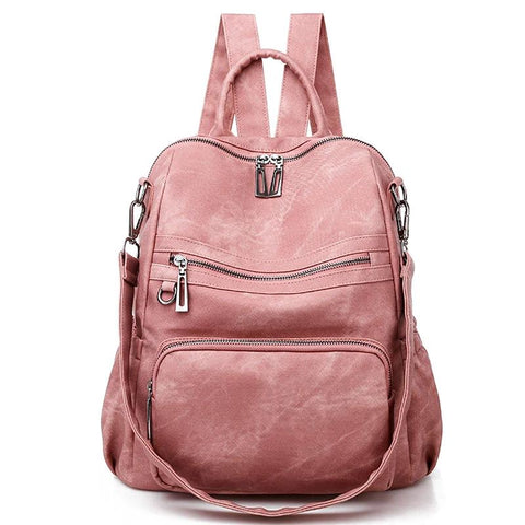 Casual Women's Leather Backpack High Quality School Backpacks Vintage Shoulder Bags Multifunction