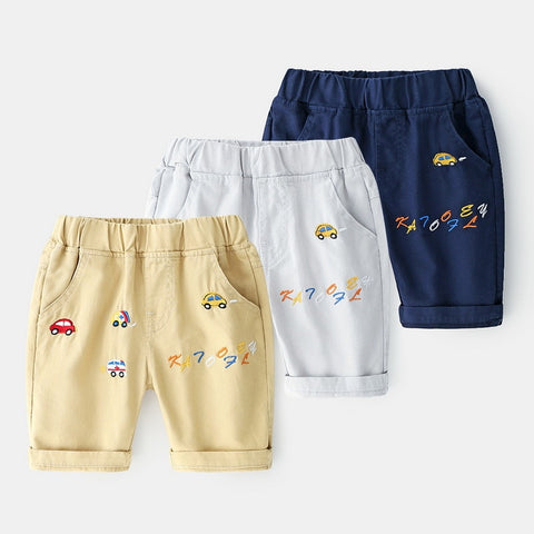 Kids Summer Shorts Children Pants Boys Shorts Cartoon Car Shorts For Boys Elastic Waist Casual Boys Kids Shorts