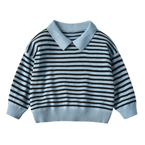 Autumn&Winter Stripe Boys Sweaters Pullover Knitted Lapel Kids Boys Sweaters And Tops Child Long Sleeve Sweater Wool