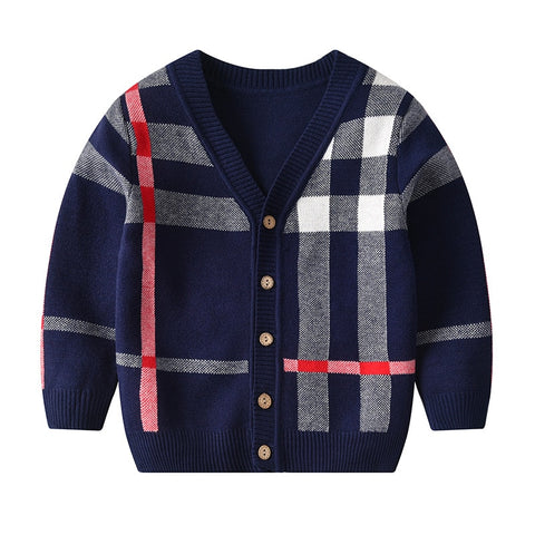 Baby Boy Cardigan Casual Knitted Sweater Single Breasted Plaid Kids Boys Sweaters And Tops Long Sleeve Baby Cardigan