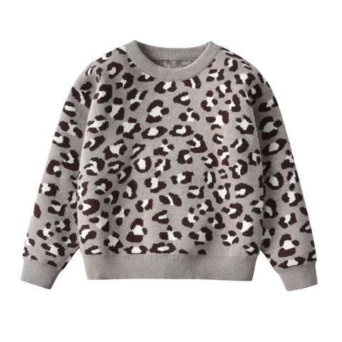 Winter Baby Girl Knitted Sweater Baby Leopard Sweater Child Long Sleeve Pullover Sweater For Toddler Clothes