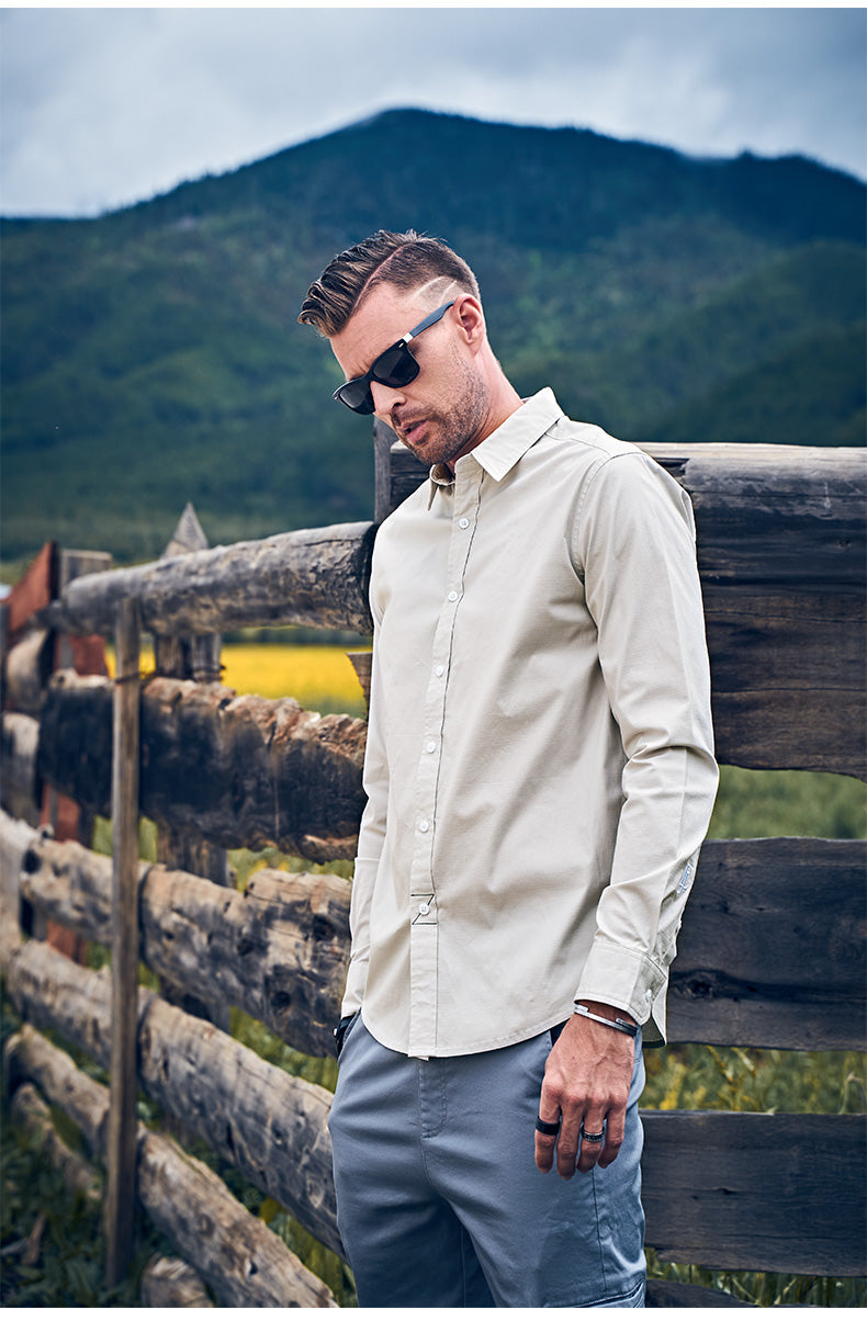 Spring Men Casual Shirt Long Sleeved Solid Turn-down Collar Male Top Plus Size  High Quality