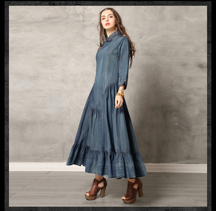 New Europe Spring Autumn Women Denim Dress Buttoned Ruffled A-line Dress Vintage Female Jeans Long Dresses