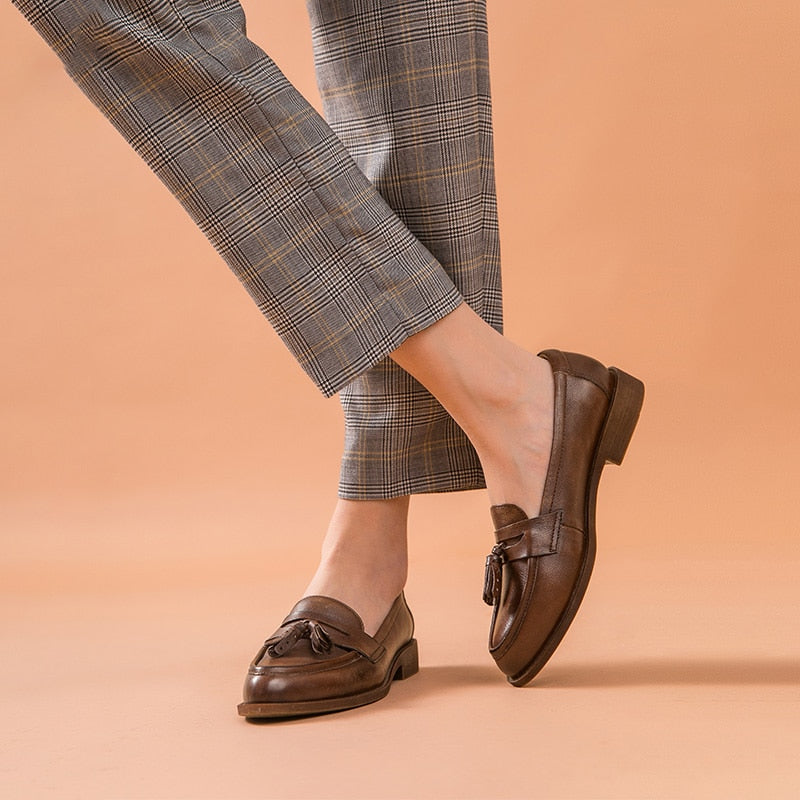 Penny Loafers Women Genuine Leather