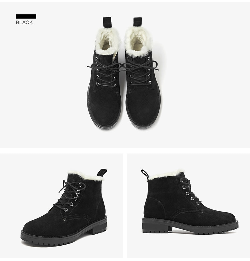 Wool Snow Boots Women Genuine Leather Round Toe Lace-Up Platform Winter Ladies Ankle Length Shoes Handmade