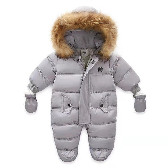 New Born Baby Winter Clothes Toddle Jumpsuit Hooded Inside Fleece Girl Boy Clothes Autumn Overalls Children Outerwear