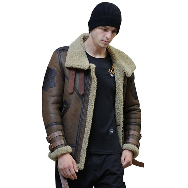 New Genuine Sheep Shearling Jacket Young Man real Sheep Skin Coat Male Winter Jacket Blue Men Fur Gentlemen Casual Overcoat