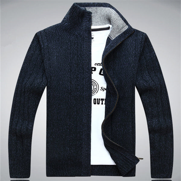 NIANJEEP Man Sweater Casual Men cardigan thick cashmere sweater Outdoors outerwear winter Brand  Army Green white blue A0369