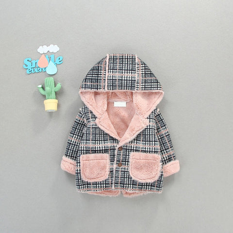 Girl's winter coat plaid with velvet cardigan and fur-like fur jacket