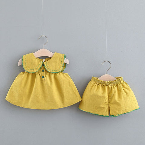 Infantil Newborn Clothes 0 To 3 Years Old Children Summer Two-piece Girl Sleeveless Brim Contracted Pants Suit