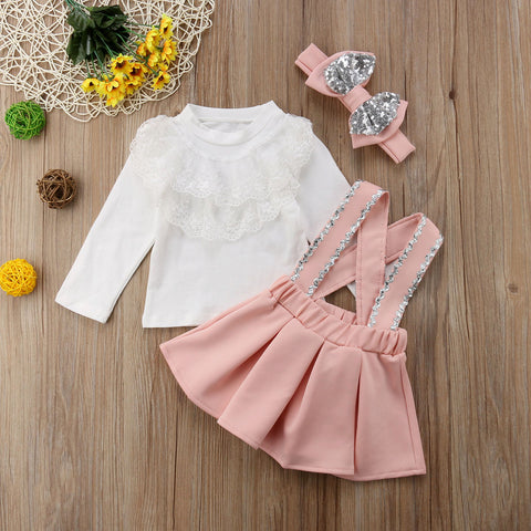Toddler Girl Clothes Set Kids Girl Clothing Long Sleeve Lace Tops Sequin Strap Skirt Bow Headband Princess Outfits 1-6T 3Pcs